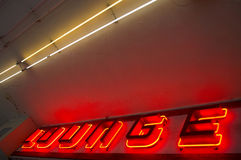 Neon Lounge Sign. Bright red neon lounge sign stock image