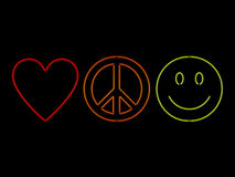 Neon Love Peace And Happiness Stock Image
