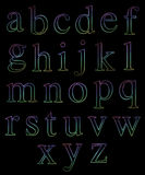 Neon Lowercase Alphabets Stock Photography