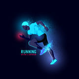 Neon Man Runner Vector Royalty Free Stock Photo