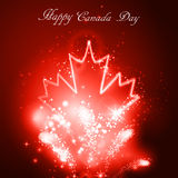 Neon maple leaf on the dark. Background for canada day with firework Royalty Free Stock Image