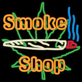 Neon MArijuana Smoke Shop With A Neon Joint. Bright neon marijuana smoke shop with a neon joint on a black background Royalty Free Stock Photography