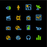 Neon media icons Stock Image