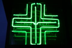 Neon Medical Cross stock image