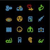 Neon medicine icons. Vector icon set, neon series Royalty Free Stock Photo
