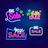 Neon mega big sale banner Stock Image