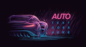 Neon modern car illustration. Vector. For print or web. eps 10 royalty free illustration