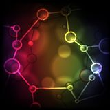 Neon Molecule Background. Stock Photography