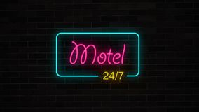 Neon Motel 24/7 sign glows and lights on grunge brick wall. Hotel open 24 hours. retro electric luminous signboard Stock Photography