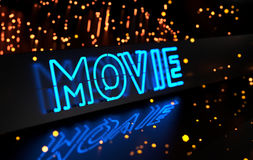 Neon Movie Sign Stock Photos