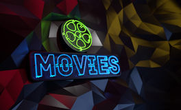 Neon Movies Sign Abstract Background. Neon Movies Sign on dark background. 3D illustration Royalty Free Stock Photos