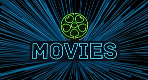 Neon Movies Sign Royalty Free Stock Photo