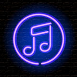 Neon music note on the brick wall. Vector Eps10 illustration Stock Photography