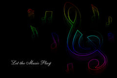 Neon music notes Royalty Free Stock Photos