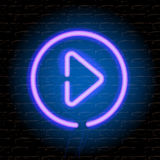 Neon music play button on the brick wall Royalty Free Stock Photography