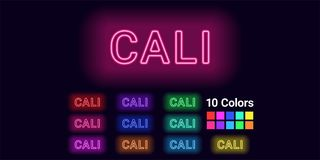 Neon name of Cali city. Vector illustration of Cali inscription consisting of neon outlines, with backlight on the dark background. Set of different colors Royalty Free Stock Photography
