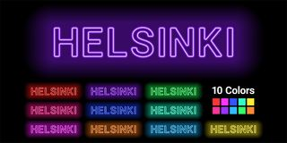 Neon name of Helsinki city. Vector illustration of Helsinki inscription consisting of neon outlines, with backlight on the dark background. Set of different Royalty Free Stock Photography