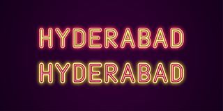 Neon name of Hyderabad city in India royalty free illustration