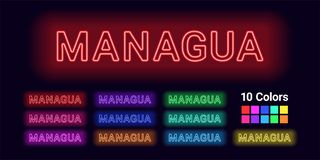 Neon name of Managua city royalty free illustration