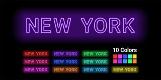 Neon name of New York city. Vector illustration of New York inscription consisting of neon outlines, with backlight on the dark background. 10 different colors Stock Photos