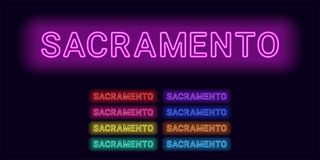 Neon name of Sacramento city. Vector illustration of Sacramento inscription consisting of neon outlines, with backlight on the dark background. Set of Royalty Free Stock Image