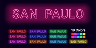 Neon name of San Paulo city. Vector illustration of San Paulo inscription consisting of neon outlines, with backlight on the dark background. Set of different Royalty Free Stock Photography