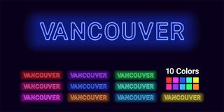 Neon name of Vancouver city. Vector illustration of Vancouver inscription consisting of neon outlines, with backlight on the dark background. Set of different Royalty Free Stock Images