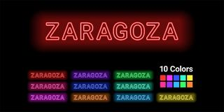 Neon name of Zaragoza city. Vector illustration of Zaragoza inscription consisting of neon outlines, with backlight on the dark background. Set of different Royalty Free Stock Photography