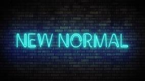 Neon new normal on brick wall. Night Club Bar Blinking Neon Sign.