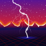 Neon new retro wave computer landscape with lightning Stock Photo