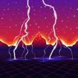 Neon new retro wave computer landscape with lightning. Neon new retro wave landscape with lightning