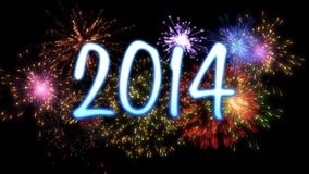 Neon new year 2014 with fireworks. Neon blue new year 2014 with colourful fireworks Royalty Free Stock Photo