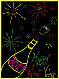 Neon New Year 2017. Hand-drawn depiction of sending off 2016 on a champagne cork and ringing in 2017 with neon colorful fireworks.You can customize the vector Royalty Free Stock Images
