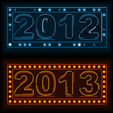 Neon new year and old year signs. Burnt out 2012 sign and brand new 2013 in neon lights vector illustration