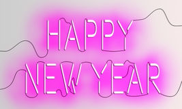Neon `New Year` Text. Happy New Year texts in pink glowing neon light and electric wires royalty free illustration