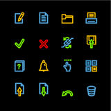 Neon notebook icons. Vector icon set, neon series Royalty Free Stock Image