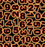 Neon number in yellow and red colors on black background. Seamless vector tile, bold font cipher. Royalty Free Stock Image
