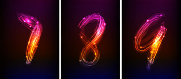 Neon numbers Royalty Free Stock Image