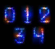 Neon numbers. Made of light  part of collection Stock Photo