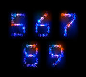 Neon numbers. Made of light  part of collection Stock Photography