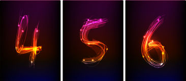 Neon numbers. Made of light  part of collection Stock Images