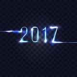 2017 neon numbers on checkered transparent background. vector il Royalty Free Stock Photography