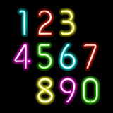 Neon numbers stock illustration