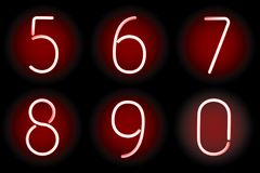 Neon numbers. Vector. Royalty Free Stock Image