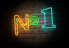 Neon Nummer Één Teken op een Bakstenen muur van het Gezicht royalty-vrije illustratie