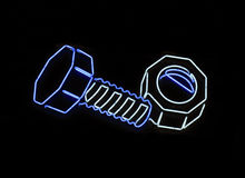 Neon nut and bolt shaped sign Royalty Free Stock Photos