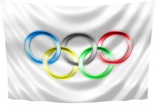 Neon Olympic flag. On a white background stock illustration