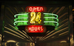 Free Neon Open 24 Hours Sign Royalty Free Stock Photography - 11129027
