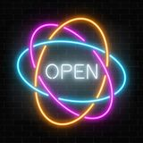 Neon open 24 hours in circle frames like planetary model sign on a dark brick wall background. Round the clock working bar or night club signboard. Vector Royalty Free Stock Photo