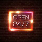 Neon open 24 7 hours 7 days sign. Rectangle shape. Neon open 24 hours 7 days a week sign in geometric rectangle shape on brick wall background. Round the clock stock illustration